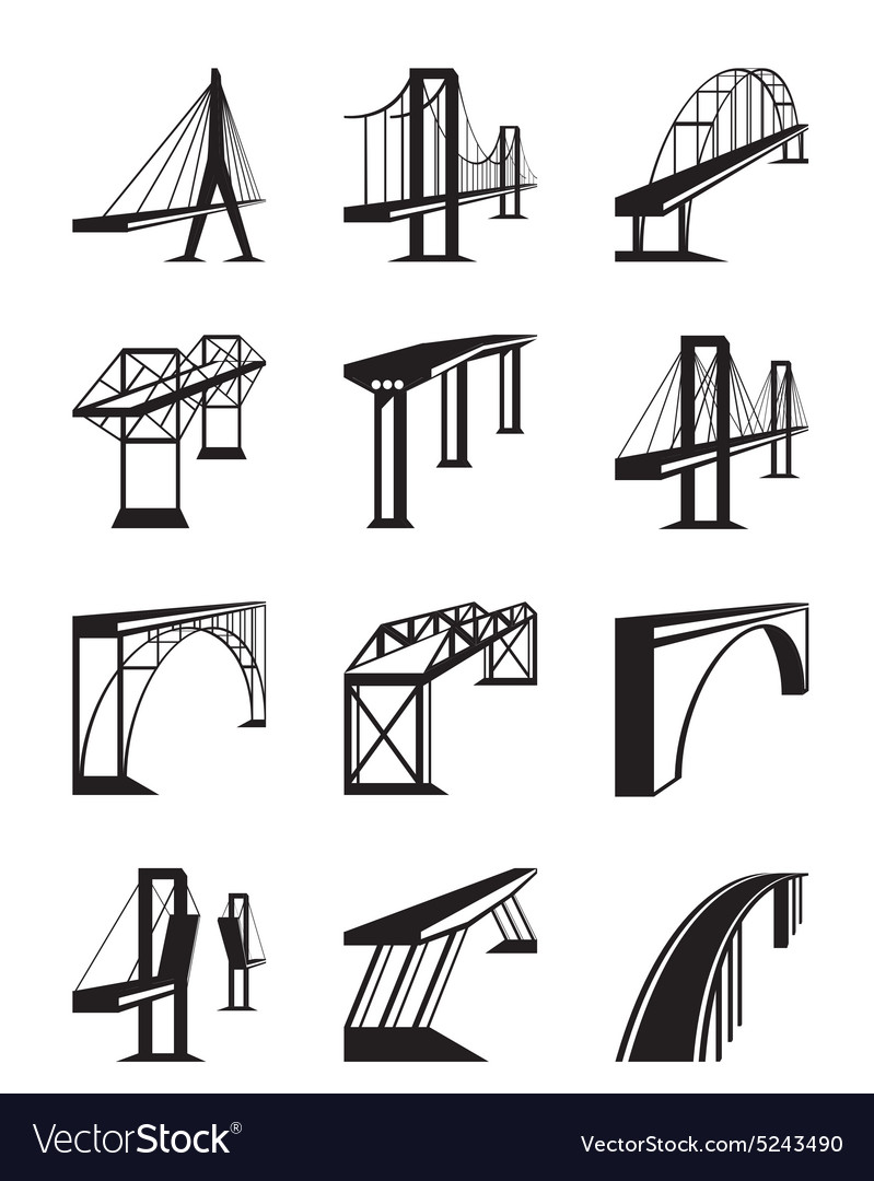 Various types of bridges in perspective