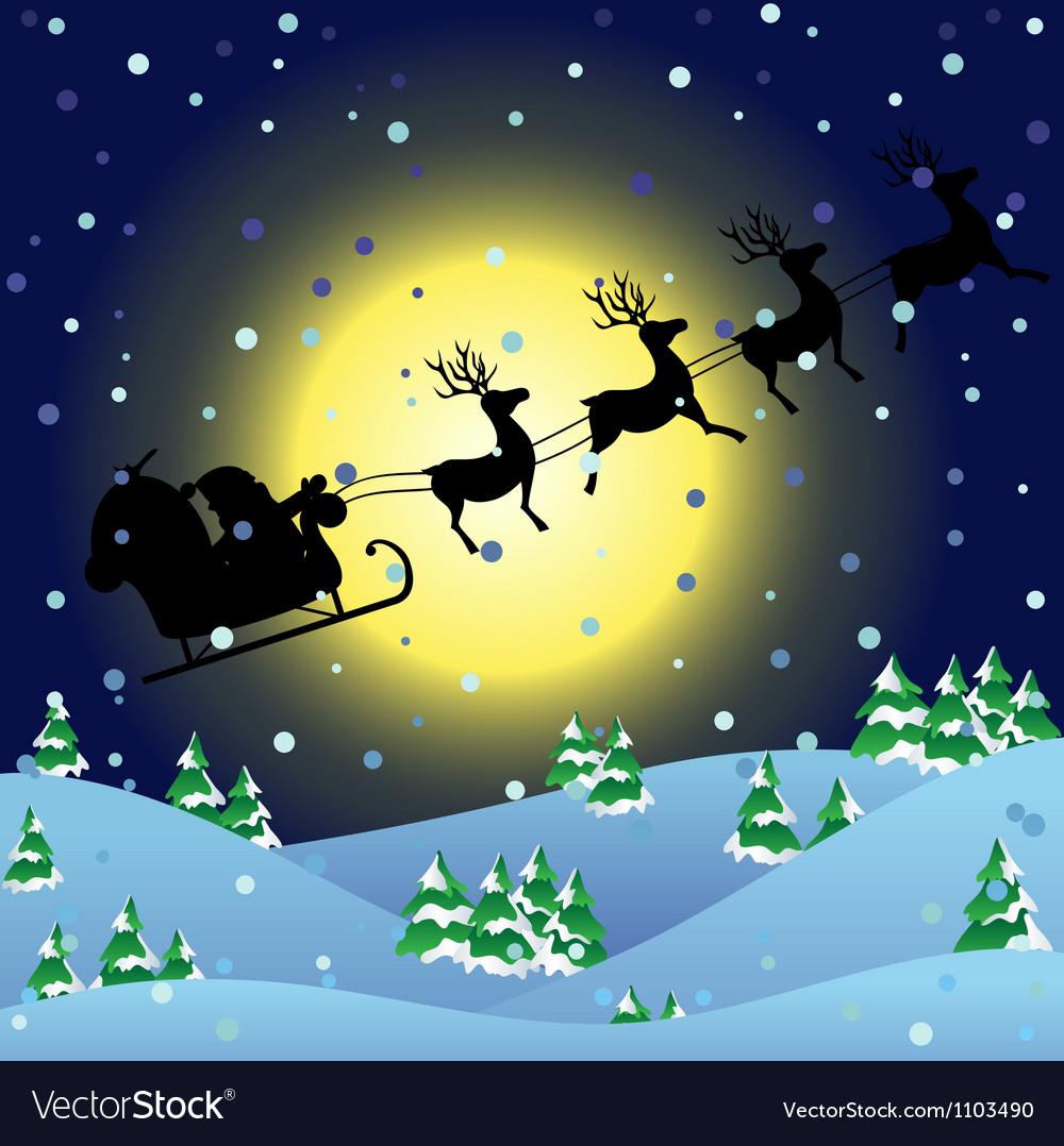 Winter background with santa sledge