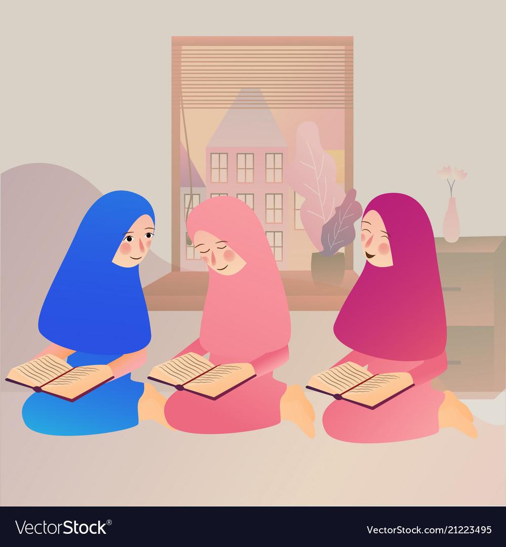 A muslim girl read quran islam