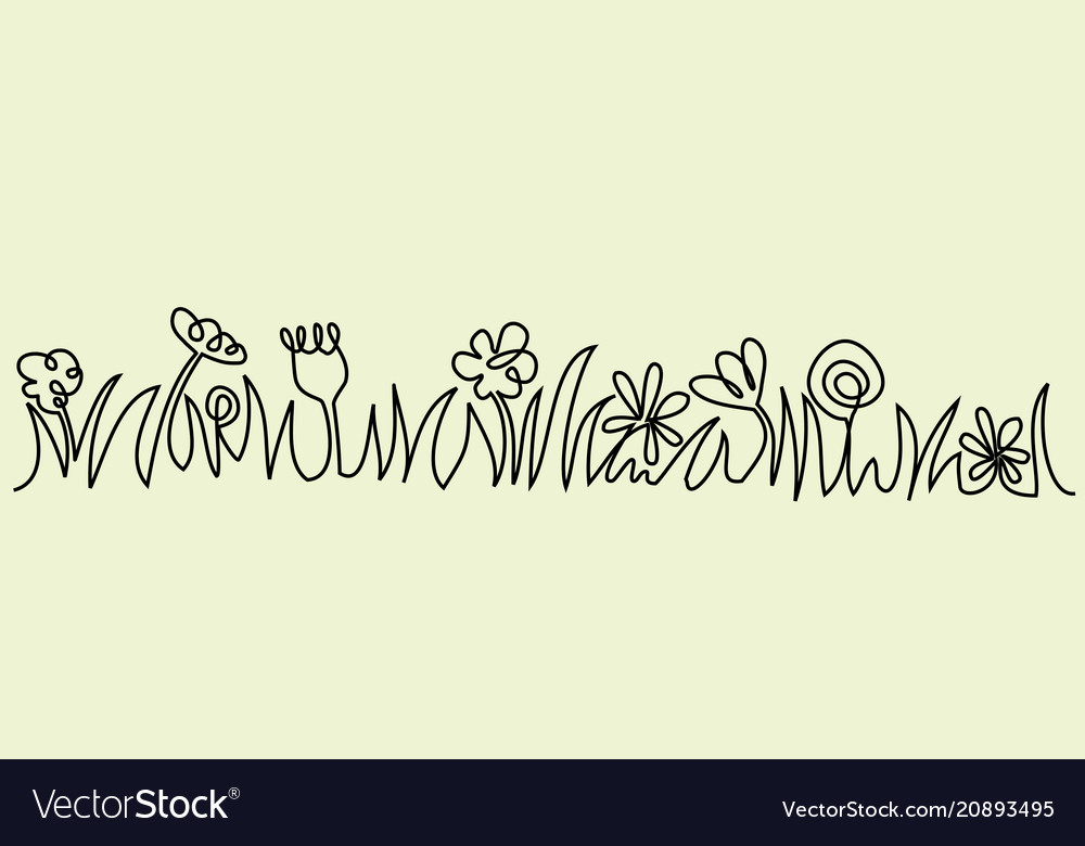 Abstract meadow one line drawing vector image