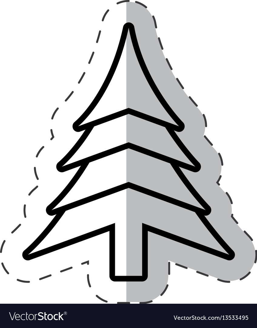 Christmas tree festive cut line