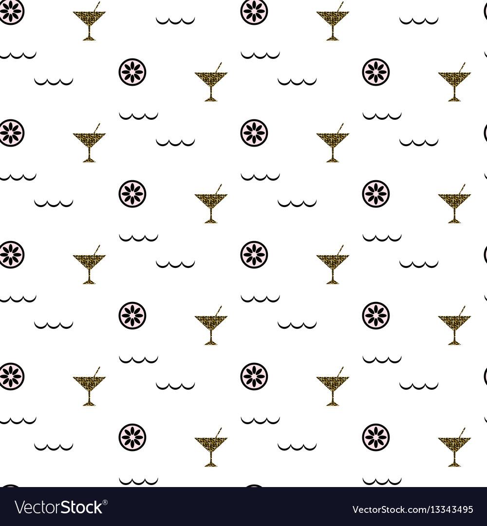 Cocktail bar glitter glass seamless pattern