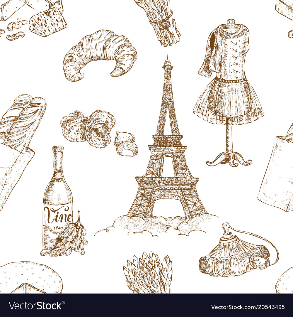 Hand drawn paris pattern vector image