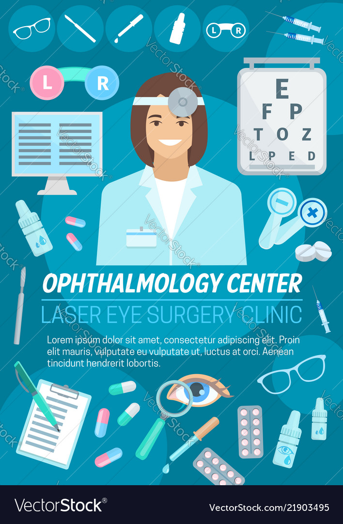 Ophthalmologist with eye lens and glasses