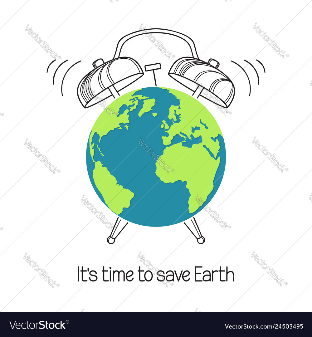 Planet earth with alarm clock