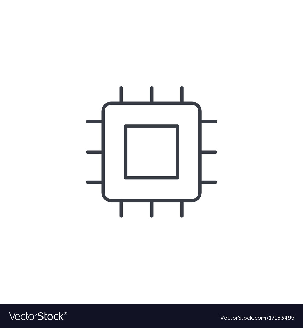 Processor motherboard chip thin line icon vector image