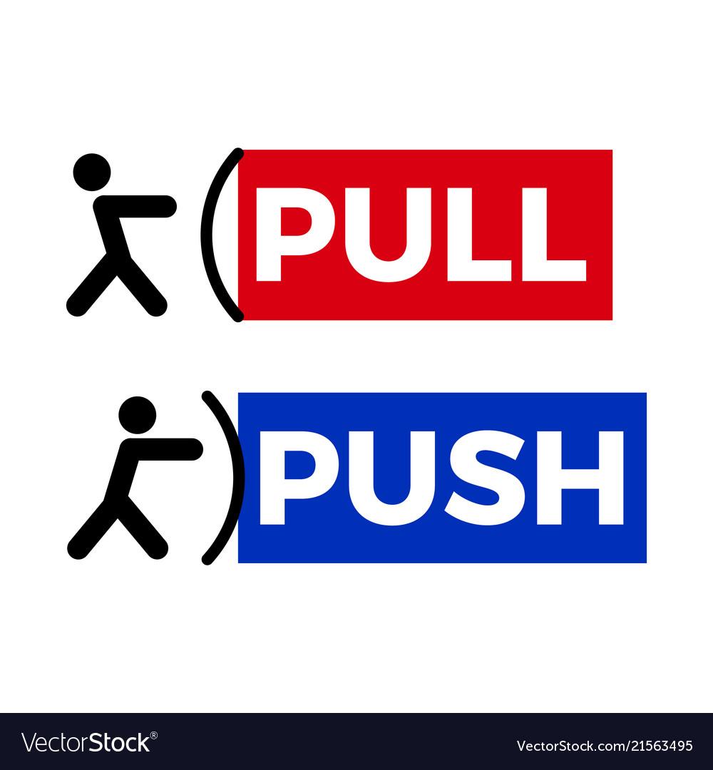 Pull push door sign