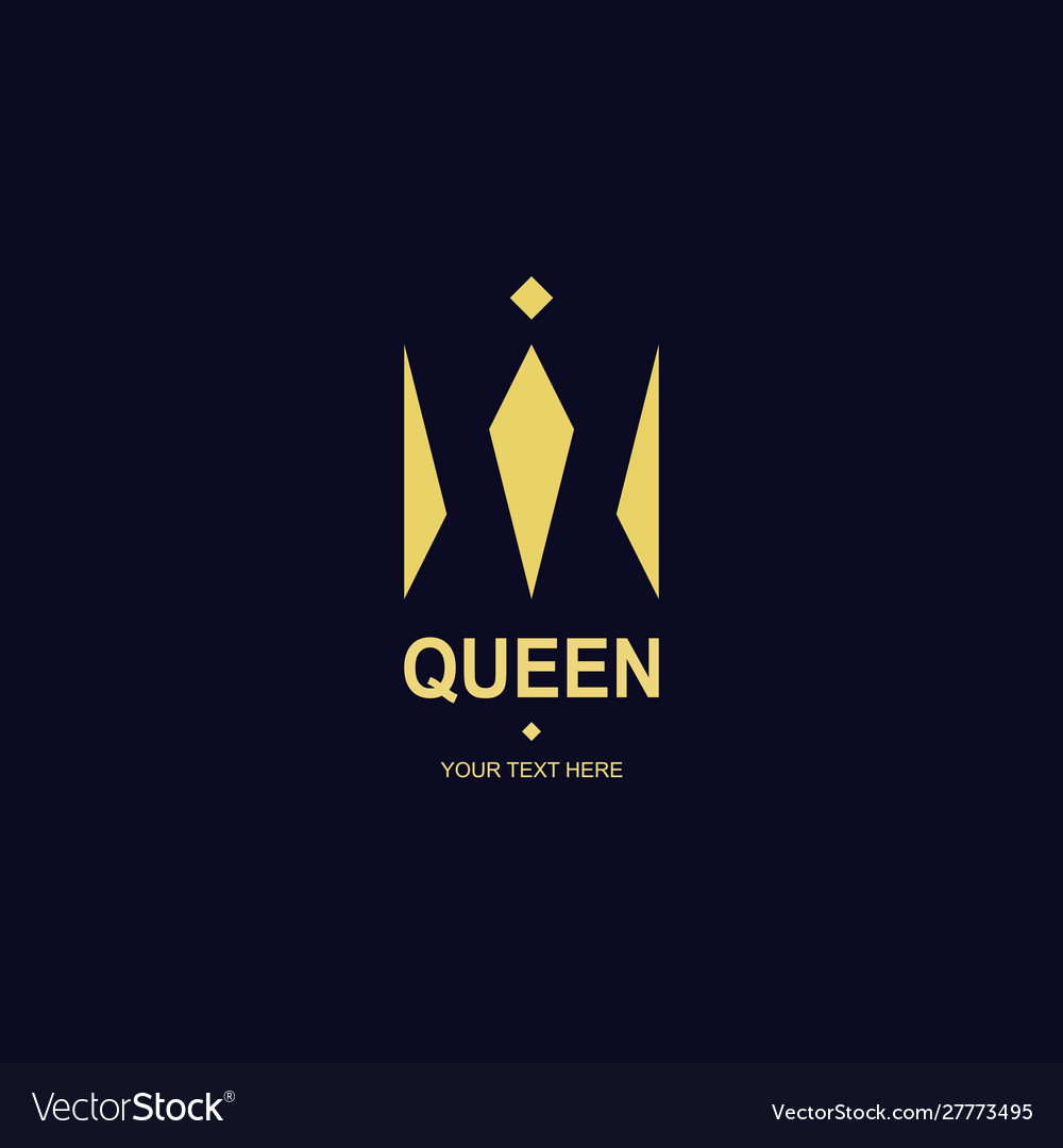 Queen crown logotype gold style