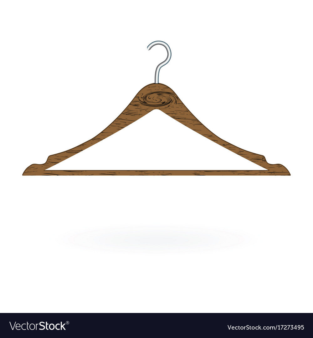Wood clothes hanger isolated on white background
