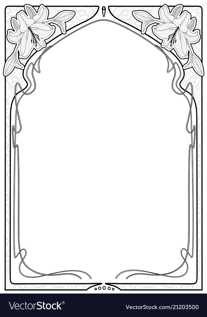 Art nouveau frames with space for text Royalty Free Vector