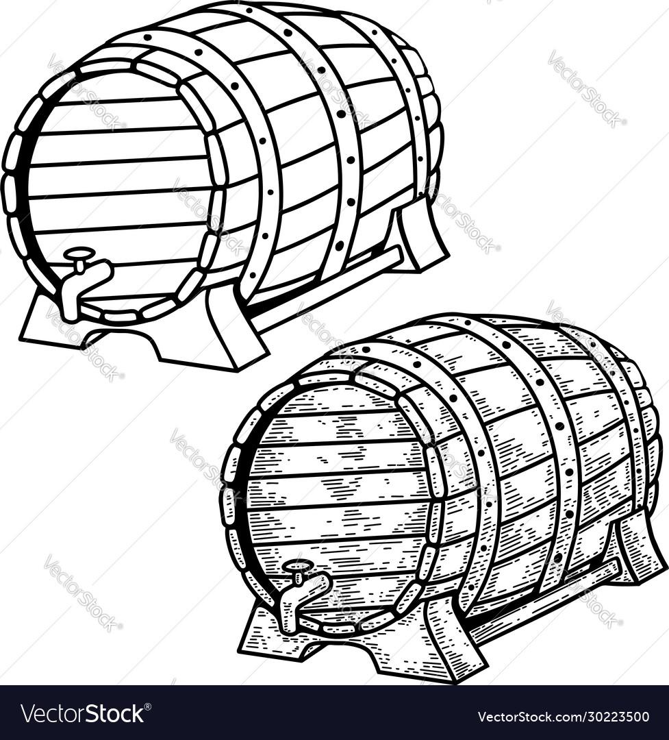 Beer barrels in engraving style design element