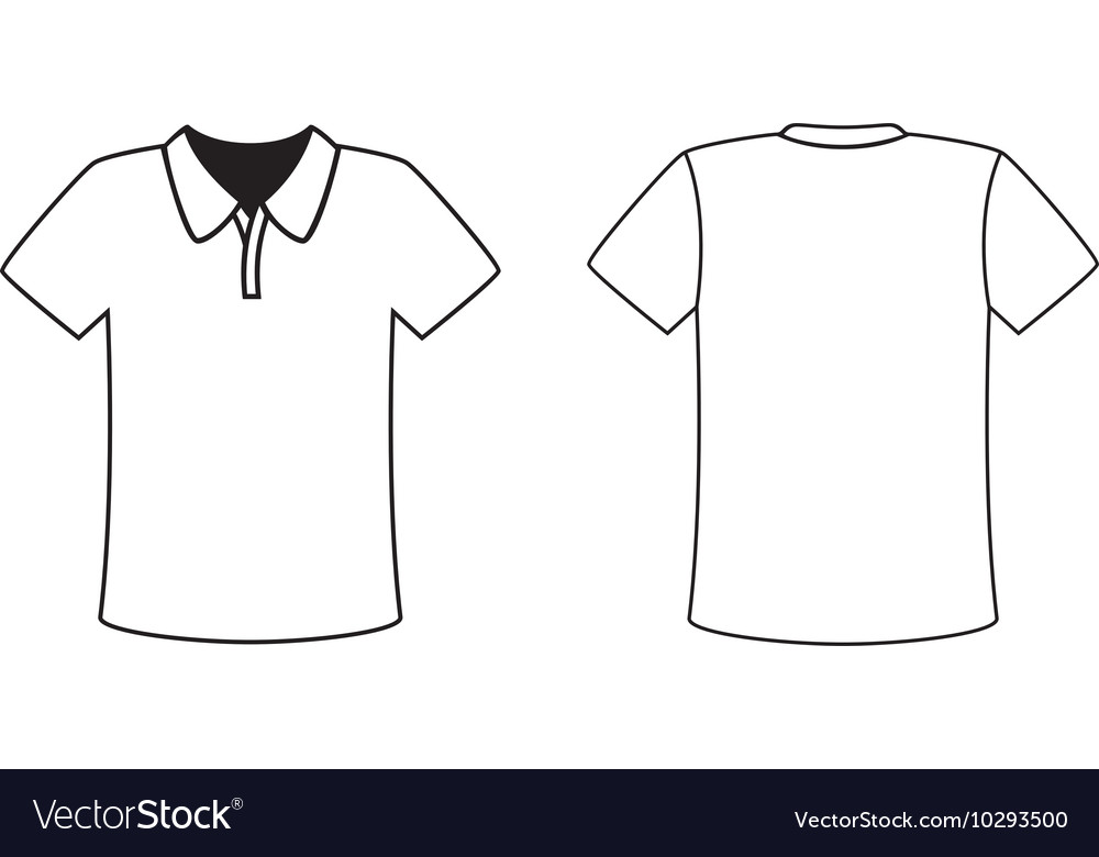 blank front and back polo tshirt design template vector image