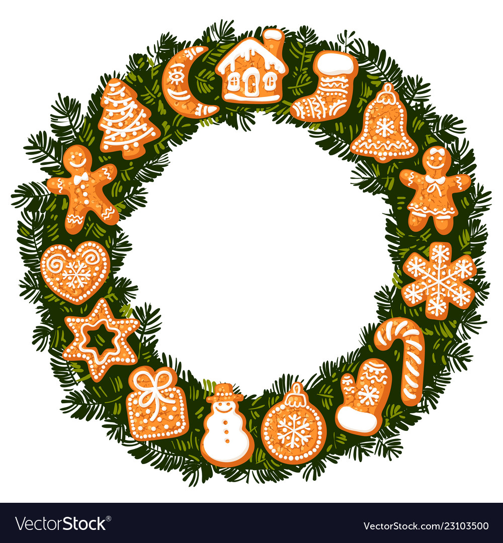 Christmas wreath with gingerbread cookies round