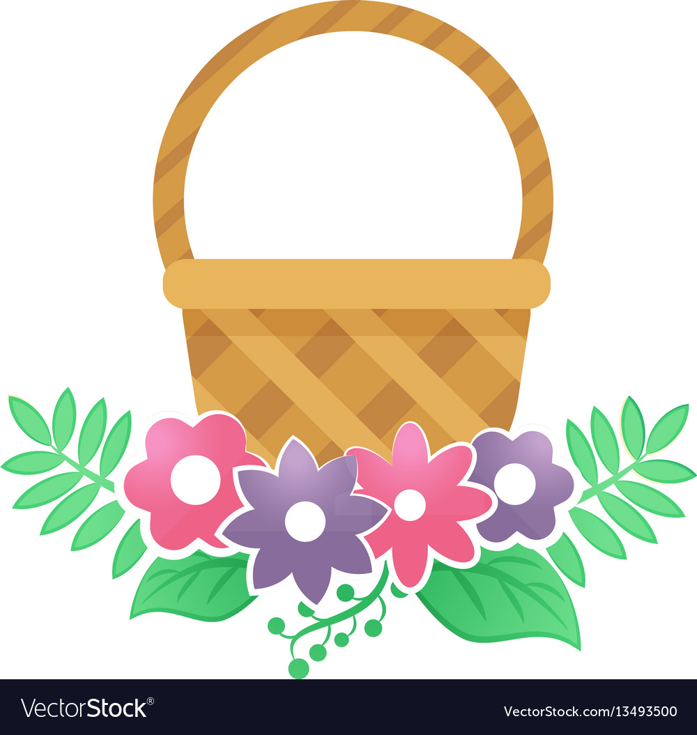 Color basket with flowers on a white background