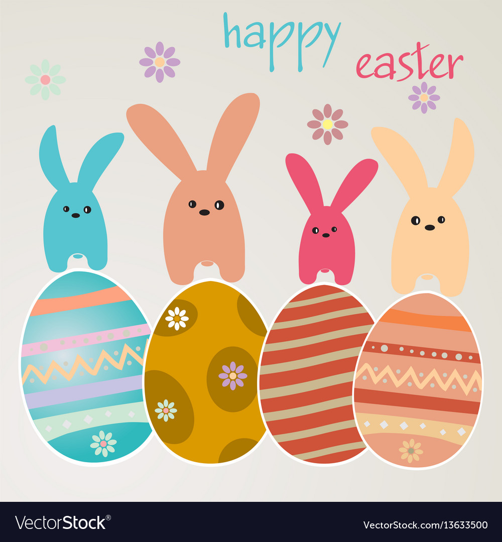 Easter holiday - rabbits and easter eggs