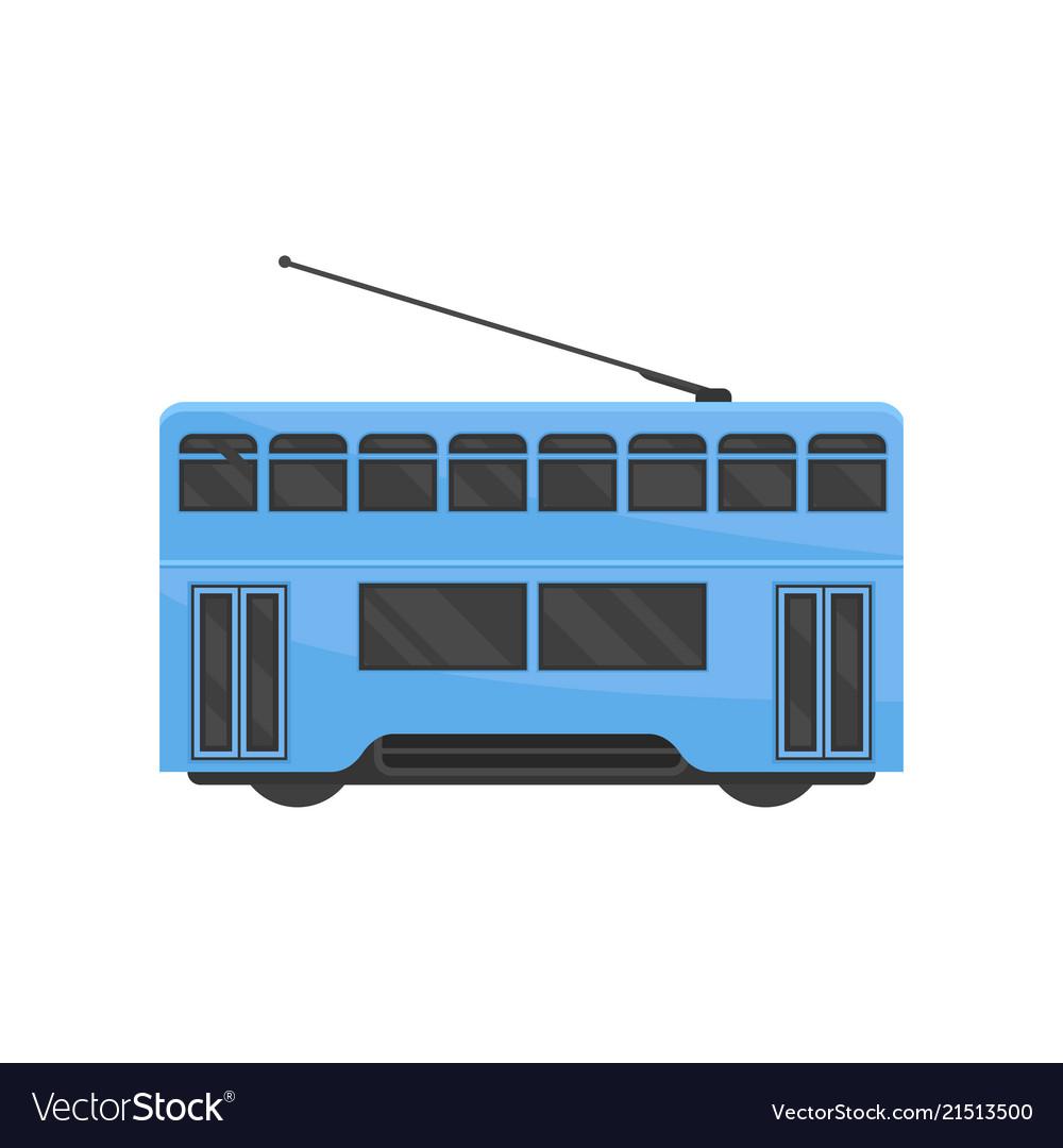 Flat icon of blue hong kong tramway public