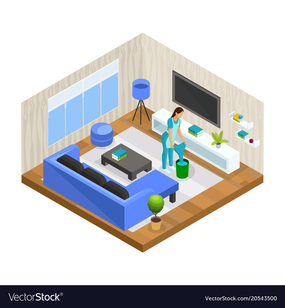 Isometric house cleaning concept vector image