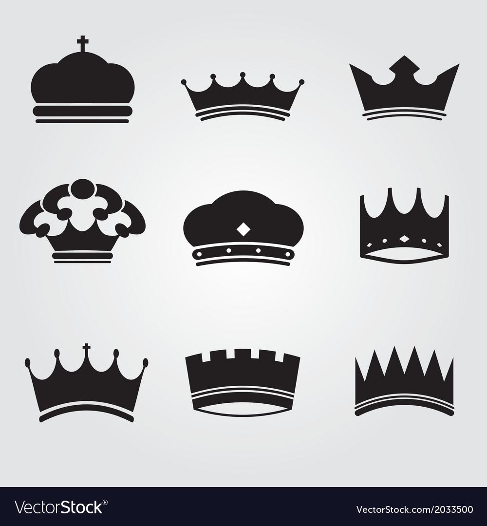 Monochrome vintage antique crowns vector image