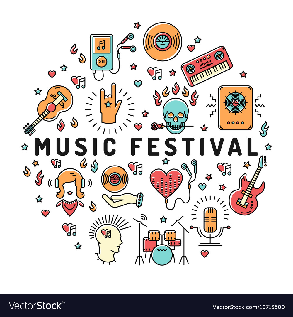 Music festival poster template musical collage