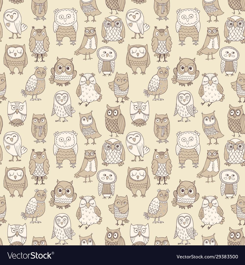 Seamless pattern line owls stylized