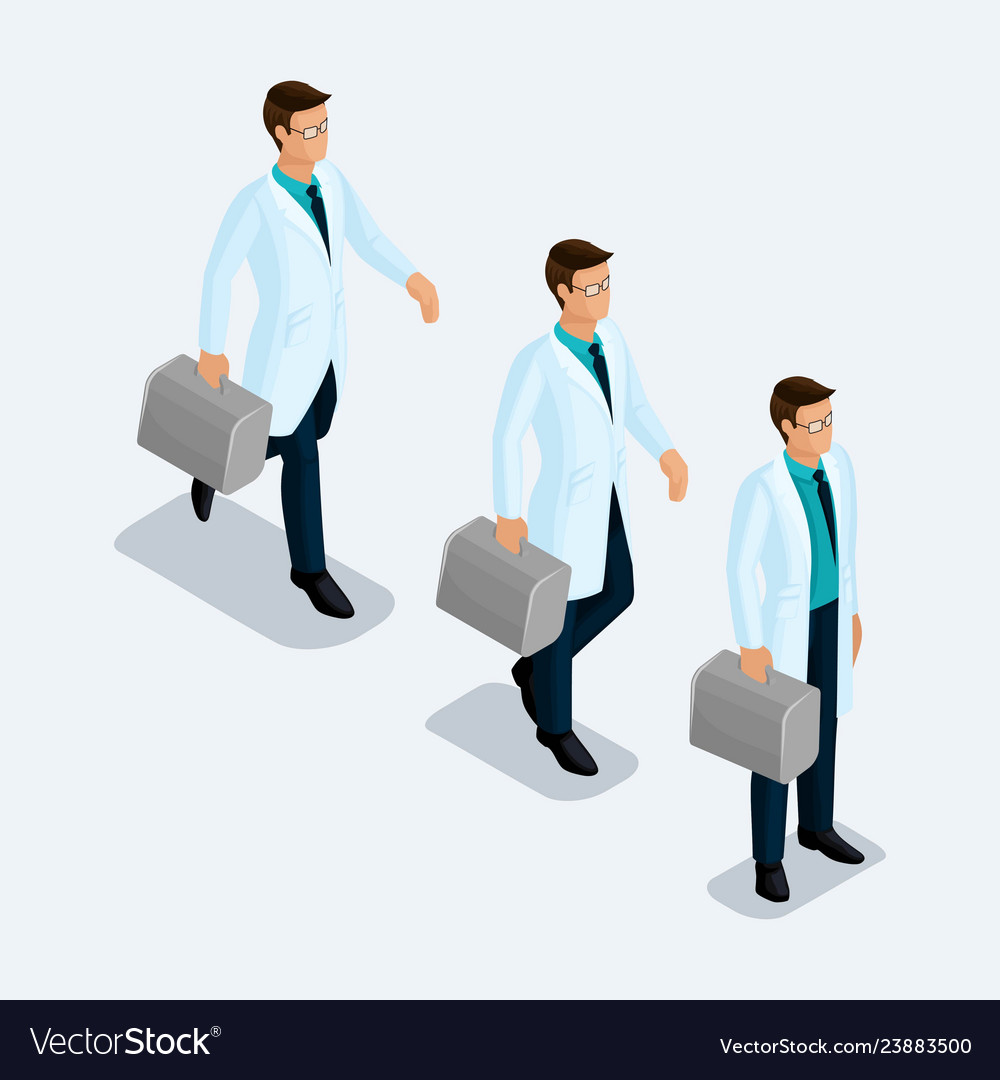 Set of isometric medical workers
