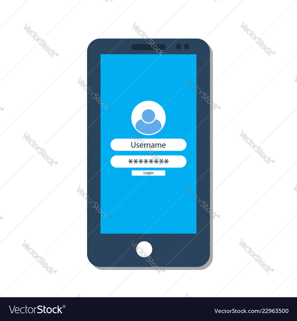 Smartphone with login form on the screen