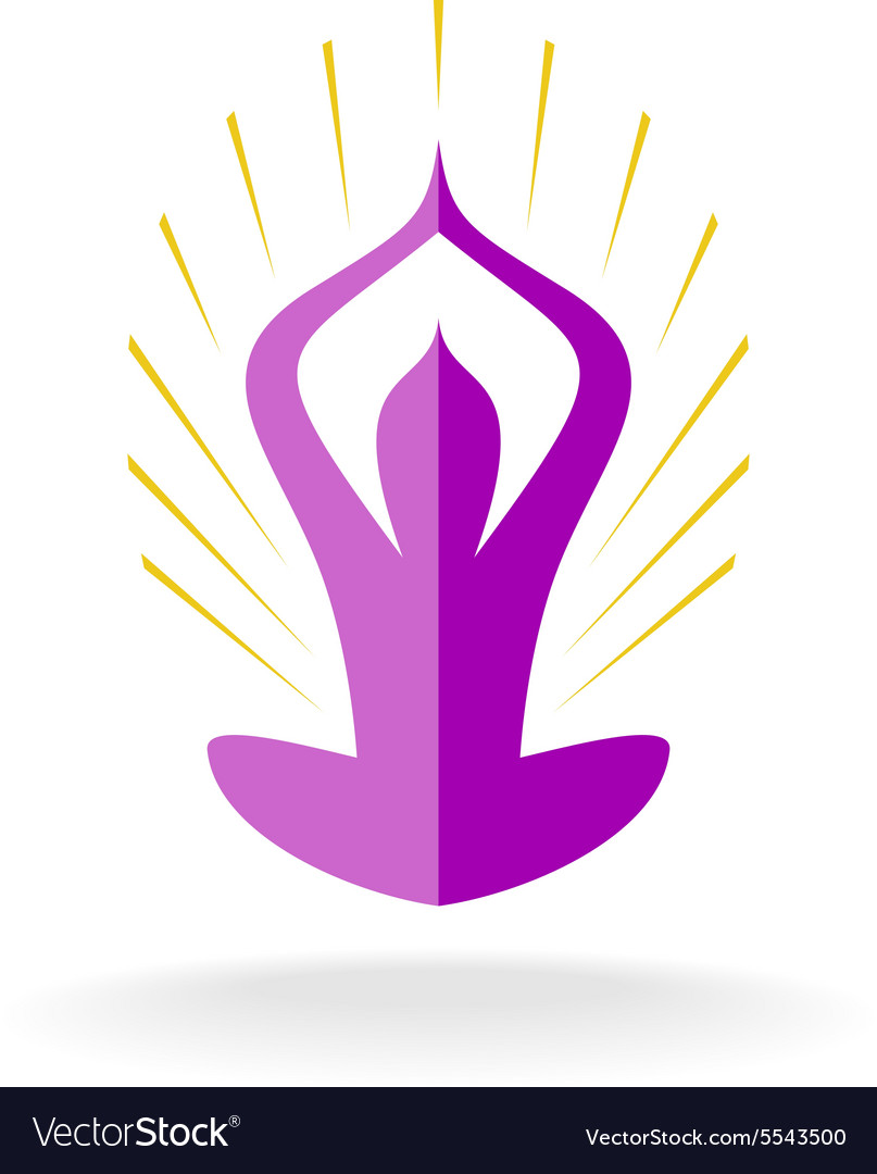 Yoga pose logo with sun rays