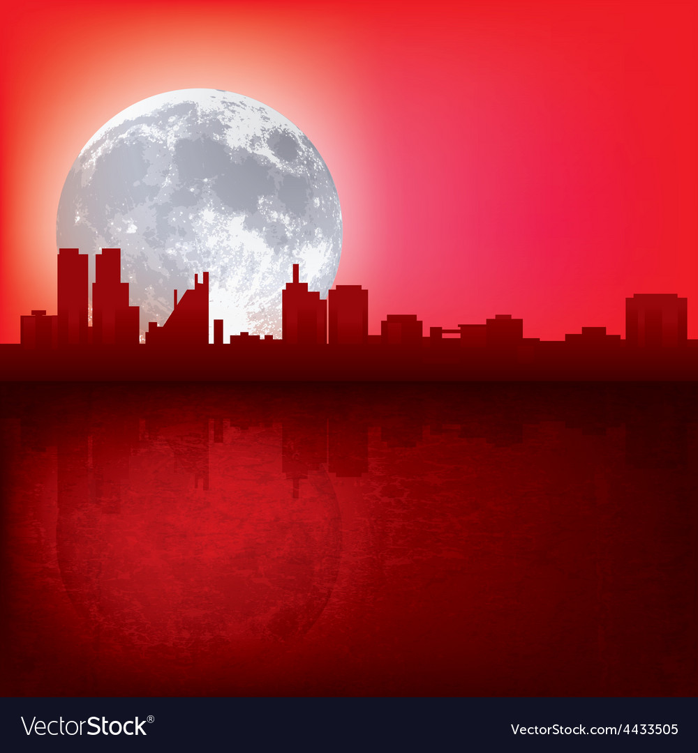 abstract red background with silhouette of city vector image