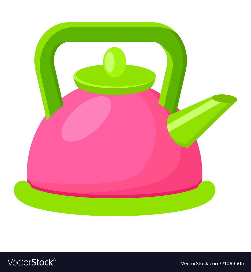 Cartoon style colorful kettle