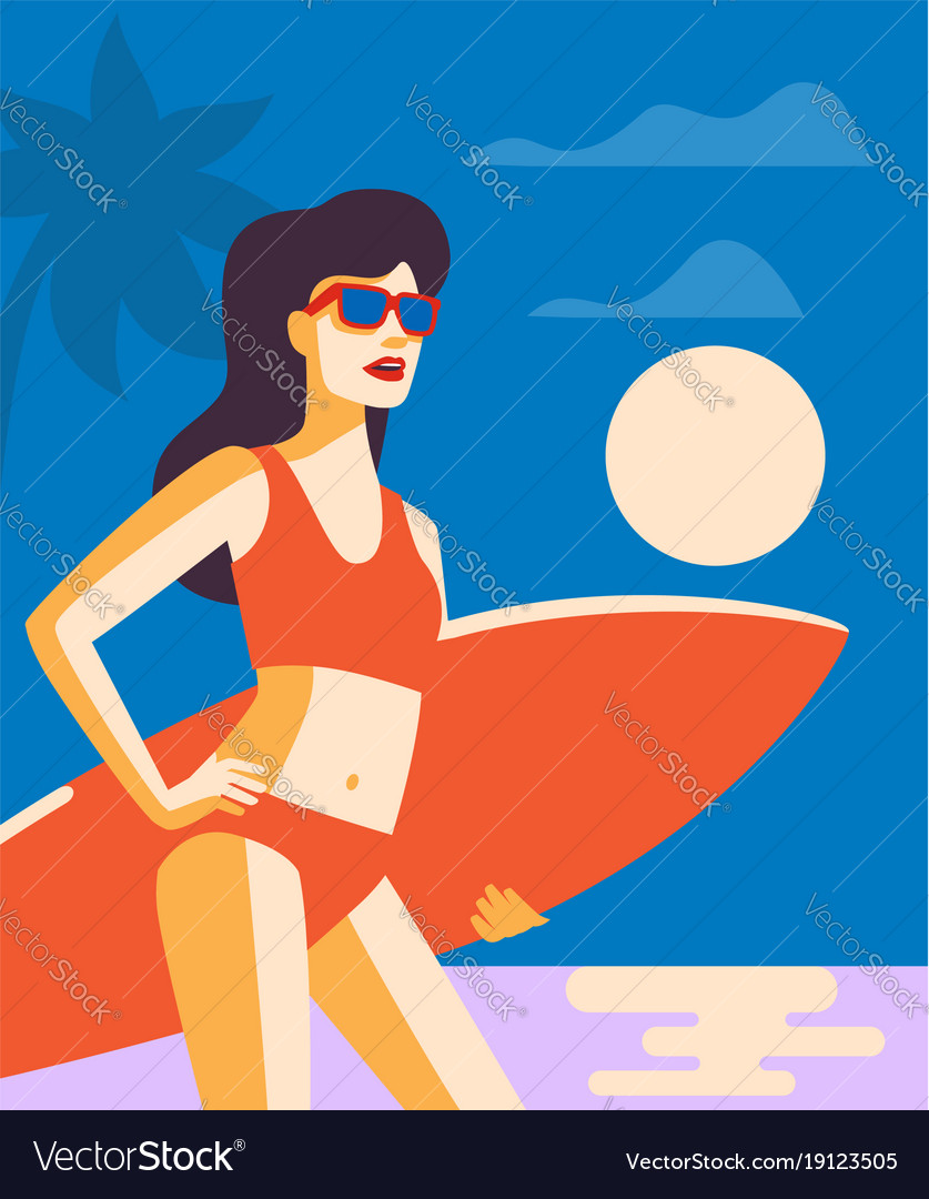 Girl with surffing board