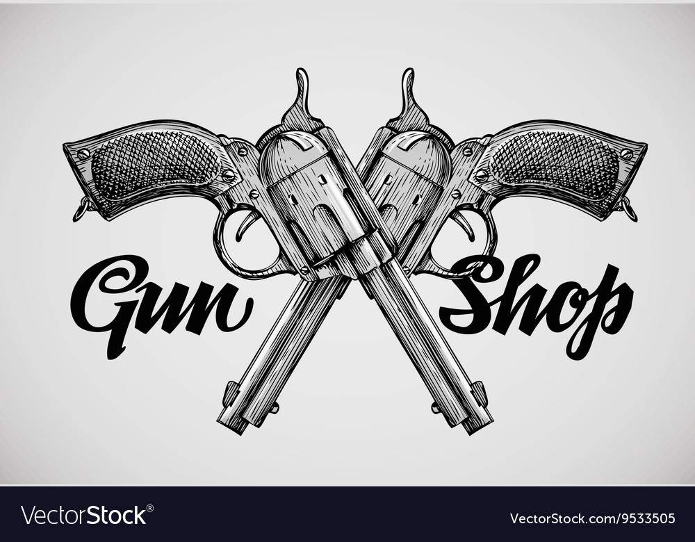 Hand drawn vintage guns Crossed pistols vector image