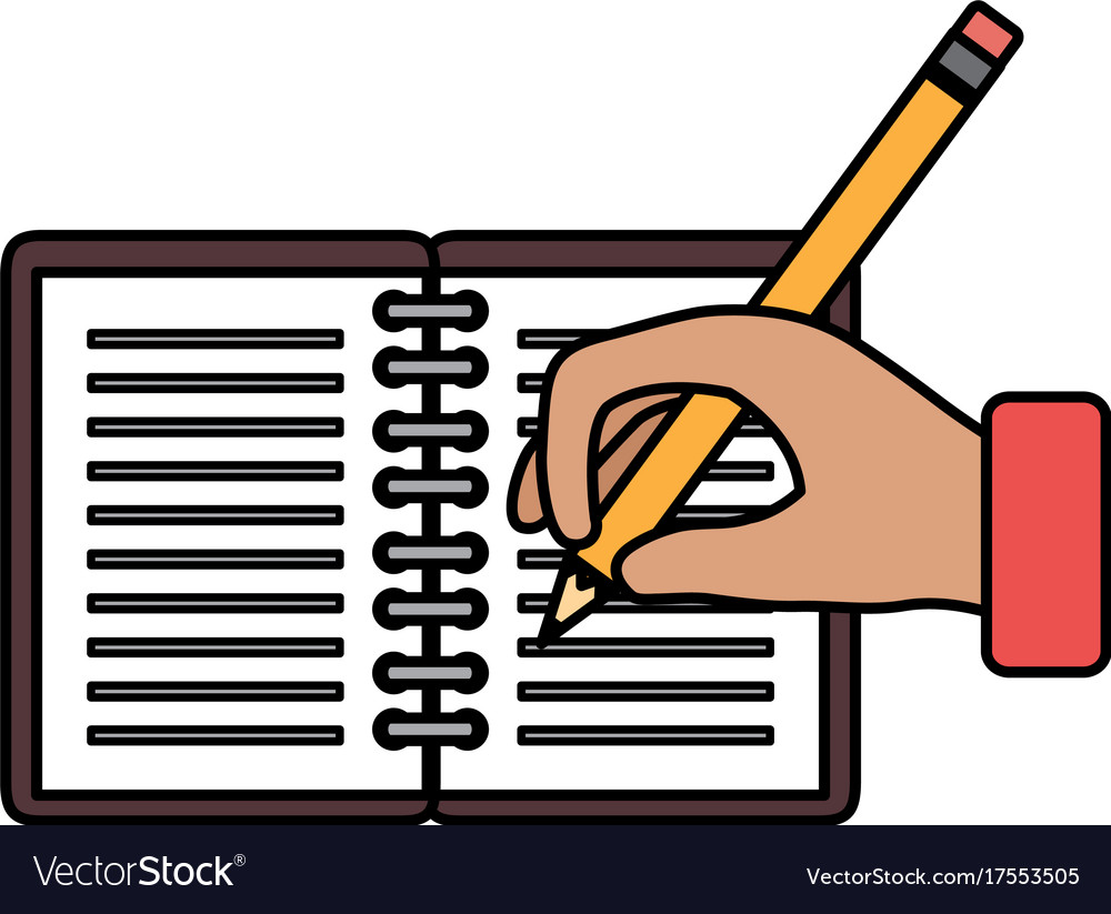 hand human with pencil writing in notebook vector image