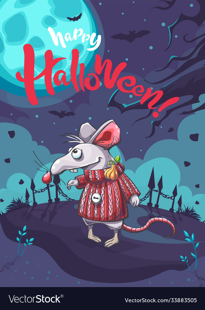 Happy halloween image with funny cartoon mouse