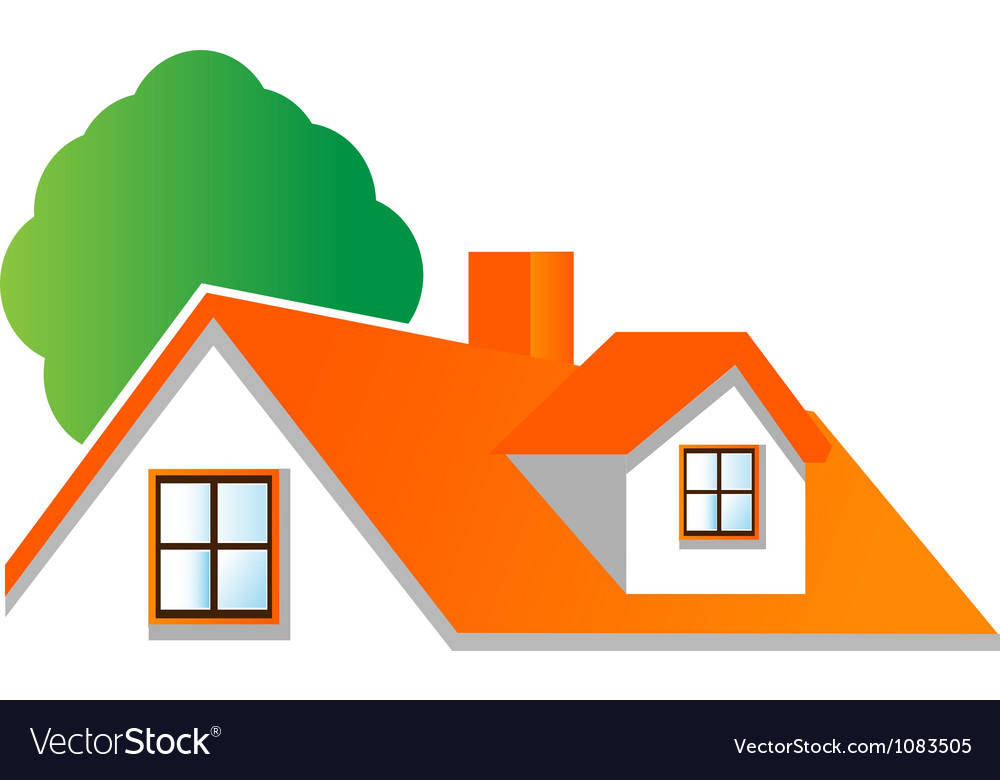 House roof logo for real estate companies vector image
