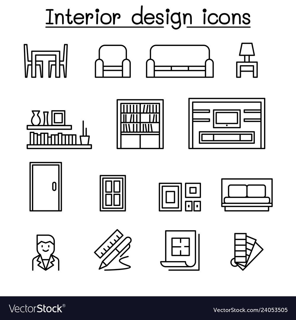 Interior design house improvement icon set in