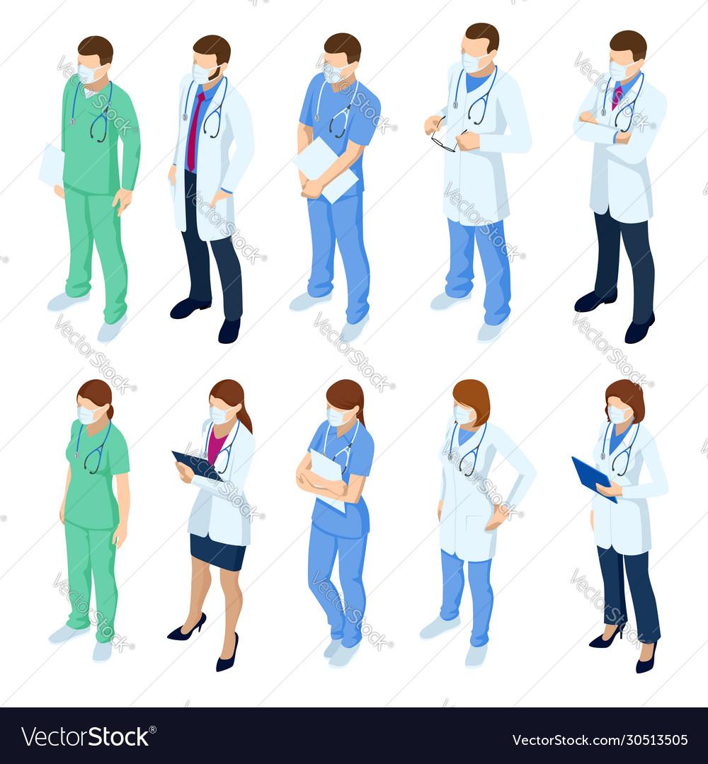 Isometric set doctors and nurses characters