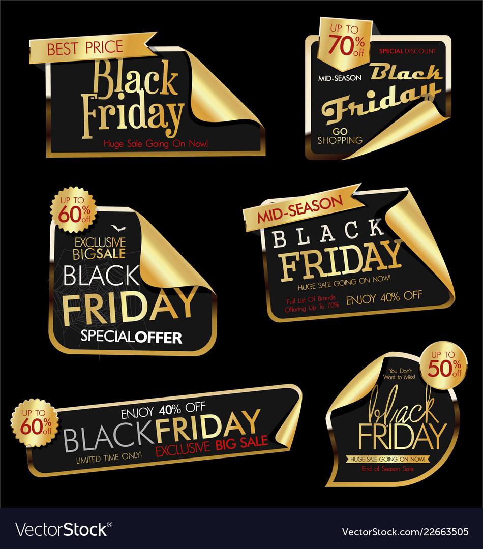Modern black friday labels golden 3
