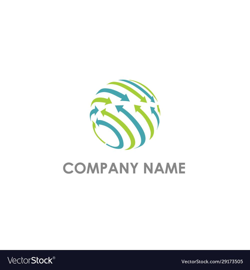 Sphere arrow globe technology logo