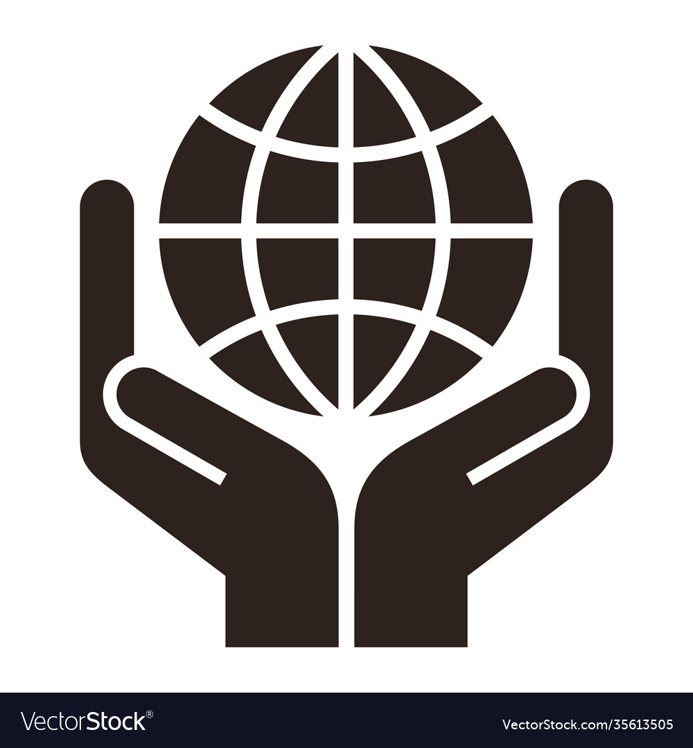 Two hands holding globe symbol for save earth