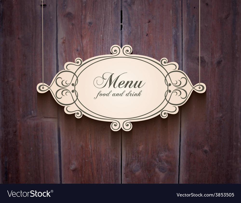 Vintage wood cover background for menu vector image