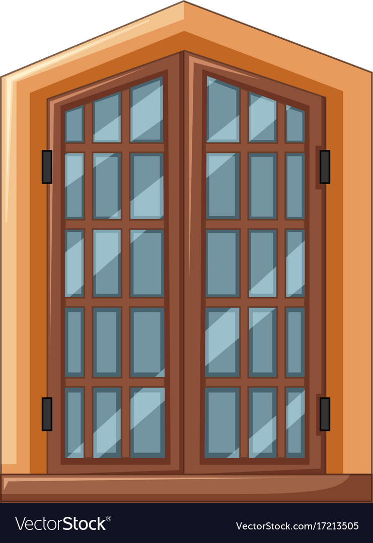 Window Design With Wooden Frame Royalty Free Vector Image