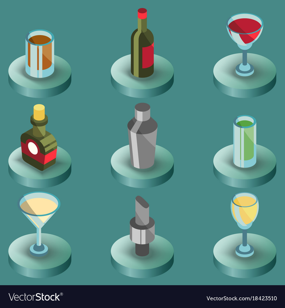 Bar color isometric icons