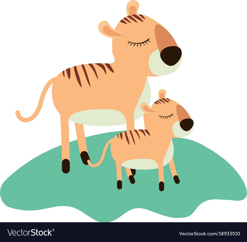 Cartoon tiger mom and cub over grass in colorful