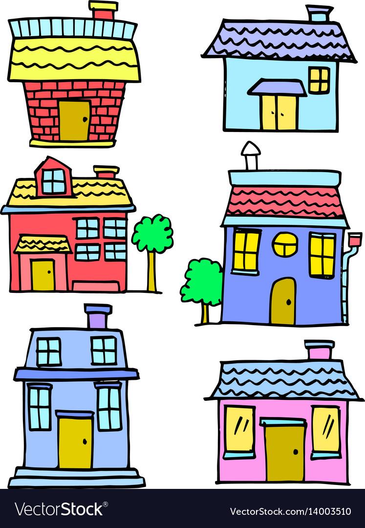 Doodle of house various cartoon design vector image