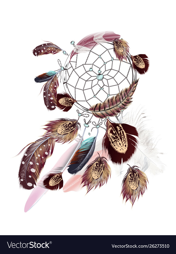 Fashion bohemian dreamcatcher with feathers