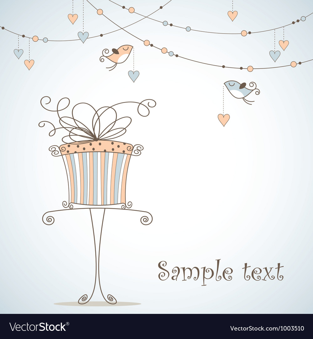 Greeting card with cute birds vector image
