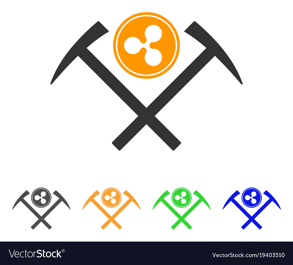 Ripple coin mining hammers icon
