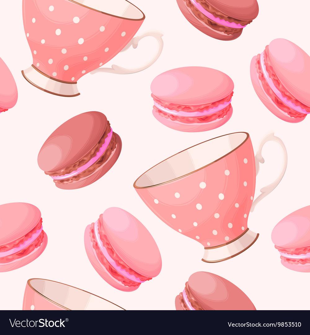 Seamless teacups and macarons