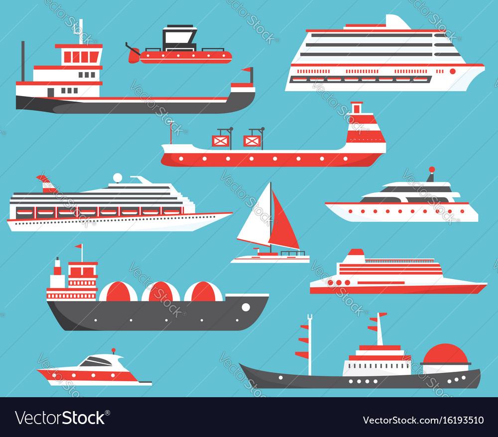 Ships set oil tanker yacht bulk carrier gas vector image