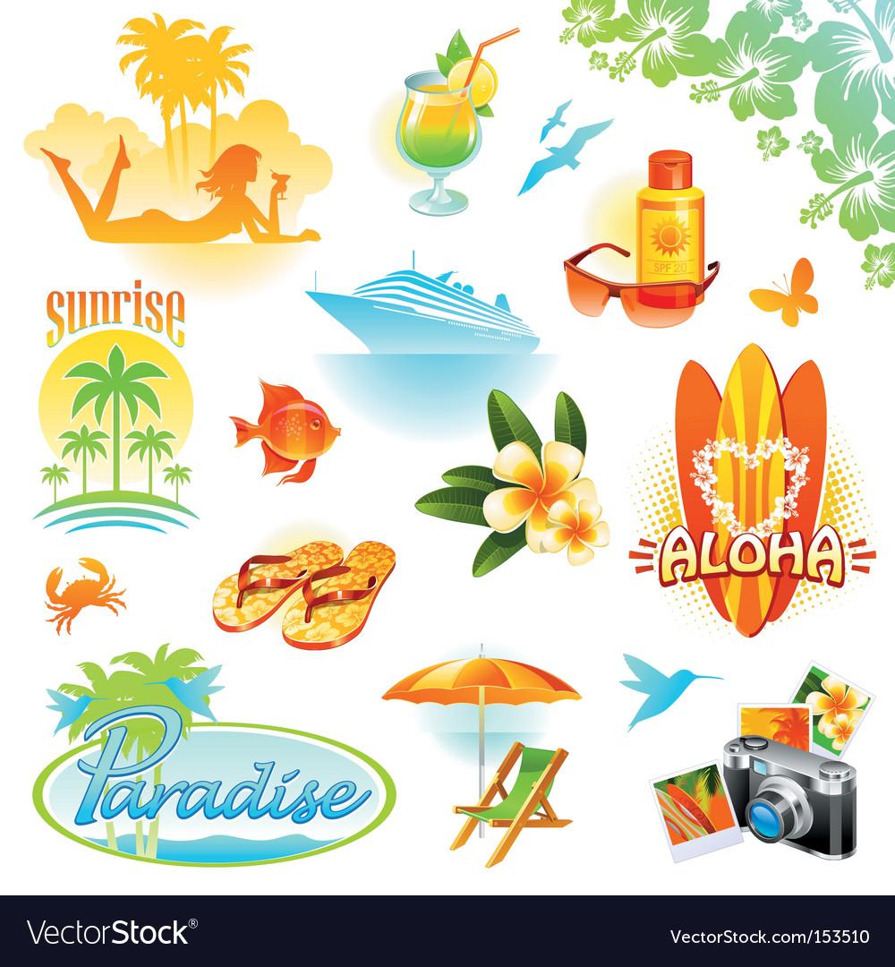 Tropical resort travel vector image
